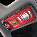 Supreme CD Multifunction Real Leather Car Sun Visor Clip Card Pen Bag Car Accessories - Red