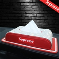 Supreme Diamonds Anti-slip Mat Leather Car Tissue Paper Boxs Holder for Car Home - Red White