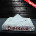 Supreme Diamonds Car Tissue Paper Boxs Holder for Car Home - Red White