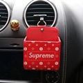 Supreme LV 1pcs Car Storage Bucket Leather Storage Box Auto Storage Bag - Red