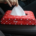 Supreme LV Genuine Leather Car Tissue Paper Boxs Holder for Car Home - Red