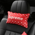 Supreme LV Plush Car Neck Pillow Woman Universal Warm Headrest 1pcs - Red