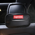 Supreme Leather Automotive Tissue Paper Box Holder Case Seat Back Hanging Tissue Bag - Black