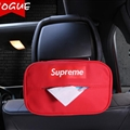 Supreme Leather Automotive Tissue Paper Box Holder Case Seat Back Hanging Tissue Bag - Red