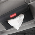 Supreme Leather Automotive Tissue Paper Box Holder Case Sun Visor Hanging Tissue Bag - Black