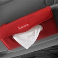 Supreme Leather Automotive Tissue Paper Box Holder Case Sun Visor Hanging Tissue Bag - Red