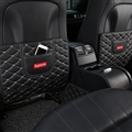 Supreme Leather Kids Car Anti-Kick Pad Seat Back Storage Bag 2pcs Protector - Black
