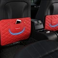 Supreme Leather Kids Car Anti-Kick Pad Seat Back Storage Bag 2pcs Protector - Red