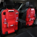 Suprerme Ipad Leather Multi-function Car Seat Back Hanging Pocket Thermal Insulation Storage Bag - Red