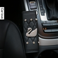 Swan 1pcs Diamonds Car Handbrake Covers Leather Diamond Brake Case Car Interior Decro - Black