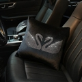 Swan Crystals Plush Car Hold Pillow Woman Universal Beautiful Cushions 1pcs - Black