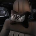 Swan Crystals Plush Car Neck Pillow Woman Universal Warm Headrest 1pcs - Black