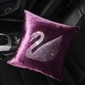 Swan Diamond Plush Car Hold Pillow Woman Universal Beautiful Cushions 1pcs - Purple