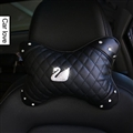 Swan Diamonds Leather Auto Neck Pillow Woman Universal Warm Headrest 1pcs - Black