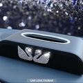 Swan Personalized Diamonds Genuine Leather Car Tissue Paper Boxs Holder for Car Home - Black
