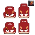 The Flash Universal Automotive Carpet Car Floor Mats Short Plush 4pcs Sets - Red