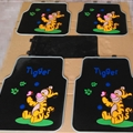 Tigger Genenal Automotive Carpet Car Floor Mats Rubber 5pcs Sets - Black Colorful