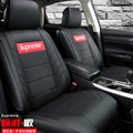 Top Leather Supreme Print Car Seat Covers Universal Pads Automobile Seat Cushions 6pcs - Black Red