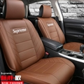 Top Leather Supreme Print Car Seat Covers Universal Pads Automobile Seat Cushions 6pcs - Coffee