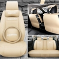 Top Leather Supreme Print Car Seat Covers Universal Pads Automobile Seat Cushions Pillows 11pcs - Beige