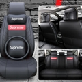 Top Leather Supreme Print Car Seat Covers Universal Pads Automobile Seat Cushions Pillows 11pcs - Black Red