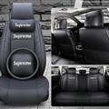 Top Leather Supreme Print Car Seat Covers Universal Pads Automobile Seat Cushions Pillows 11pcs - Black