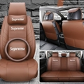 Top Leather Supreme Print Car Seat Covers Universal Pads Automobile Seat Cushions Pillows 11pcs - Coffee