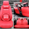 Top Leather Supreme Print Car Seat Covers Universal Pads Automobile Seat Cushions Pillows 11pcs - Red
