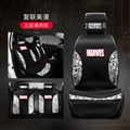 Top Polyester Marvel Car Seat Covers Universal Pads Automobile Seat Cushions 6pcs - Black White