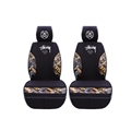 Top Polyester Stussy 2 Car Front Seat Covers Universal Automobile Seat Cushions 4pcs - Black Brown