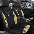 Top Polyester fiber Batman Car Seat Covers Universal Pads Automobile Seat Cushions 6pcs - Black Yellow
