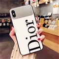 Round Dior Marble Aurora Laser Shell Glass Covers Protective Back Cases For iPhone 7 - White