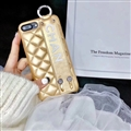 Spire Lamella Stripes Chanel Genuine Leather Back Covers Holster Cases For iPhone 7 - Gold