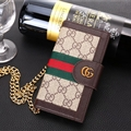 Gucci Lattice Strap Flip Leather Cases Chain Book Genuine Holster Cover For iPhone 7 Plus - Brown