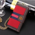 Gucci Lattice Strap Flip Leather Cases Chain Book Genuine Holster Cover For iPhone 7 Plus - Red