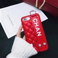 Spire Lamella Stripes Chanel Genuine Leather Back Covers Holster Cases For iPhone 7 Plus - Red