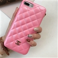 Classic Lattices Chanel Leather Hanging Rope Covers Soft Cases For iPhone 8 - Pink