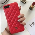 Classic Lattices Chanel Leather Hanging Rope Covers Soft Cases For iPhone 8 - Red