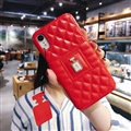 Classic Lattices Chanel Leather Perfume Bottle Covers Soft Cases For iPhone 8 - Red