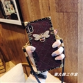 Gucci Faux Leather Honeybee Lanyards Cases Shell For iPhone 8 Silicone Soft Covers - Purple