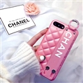 Spire Lamella Stripes Chanel Genuine Leather Back Covers Holster Cases For iPhone 8 - Pink