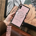 Chrome Hearts Mirror Surface Rivet Lanyards Cases Shell For iPhone 8 Plus Silicone Soft Covers - Pink