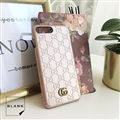 Classic Stripe Shell Gucci Leather Back Covers Metal Cases For iPhone 8 Plus - Gold