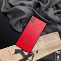 Classic Stripe Shell Gucci Leather Back Covers Metal Cases For iPhone 8 Plus - Red