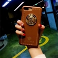 Classic Versace Leather Pattern Shell Hard Back Covers for iPhone 8 Plus - Brown