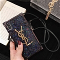Crossbody YSL Silicone Lanyard Cases Hard Back Covers for iPhone 8 Plus - Black