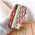 Fashion Dior Leather Pattern Cases Hard Back Covers for iPhone 8 Plus - Coffee