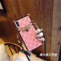 Gucci Faux Leather Honeybee Lanyards Cases Shell For iPhone 8 Plus Silicone Soft Covers - Pink