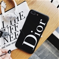 Round Dior Marble Aurora Laser Skin Glass Covers Protective Back Cases For iPhone 8 Plus - Black