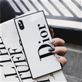 Square Dior Marble Aurora Laser Skin Glass Covers Protective Back Cases For iPhone 8 Plus - White
